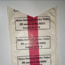 Material numismático: L-46 PAPEL FNMT PARA ENROLLAR MONEDAS 1 PESETA EMISIÓN 19 DICIEMBRE 1975. SE MANDA EL DE LA FOTO. Lote 219413467