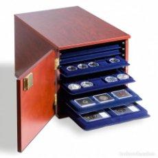 Material numismático: GABINETE PARA 10 BANDEJAS DE MONDEDAS TAB DE FORMATO-L, MADERA COLOR CAOBA. Lote 221765521