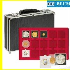 Material numismático: MALETÍN 8 BANDEJAS DE 15 DIVISIONES 50X50 CARTONES/QUADRUM.ROJAS. 120 MONEDAS. Lote 229376400