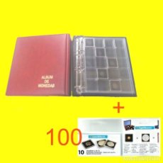 Material numismático: ALBUM MAMUT CON CAJETÍN + 5 HOJAS PARA 100 MONEDAS + 100 CÁPSULAS QUADRUM. Lote 229377350