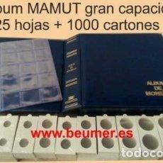 Material numismático: ALBUM MAMUT CON CAJETÍN + 25 HOJAS PARA 20 CARTONES +1000CARTONES OFERTA TOP !. Lote 235049030