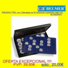 Material numismático: ESTUCHE PRESIDIO TRIO, CON 3 BANDEJAS DE 30 DIVISIONES CUADRADAS DE 39X39MM.. Lote 235710815