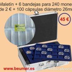 Material numismático: MALETIN CON 6 BANDEJAS PARA 240 MONEDAS DE 2 €UR..+100 CÁPS.GRATIS. Lote 235712425
