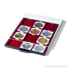 Material numismático: 10 BANDEJAS PARA MONEDAS CON 12 DIVISIONES CUADRADAS DE 67X67MM.TAPA E INTERIOR.. Lote 235717035