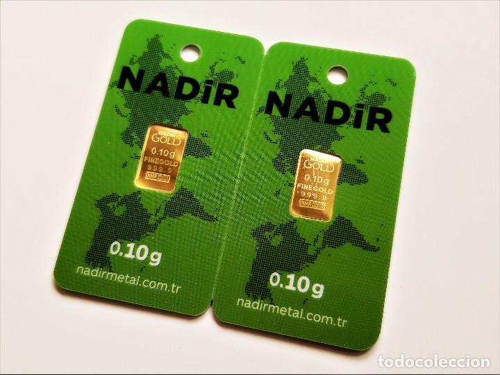 LOTE 2 LINGOTES ORO 24.KT. NADIR MACIZO Y PURO 999.9 CERTIFICADO EN BLISTER (0,10.GR X 2 = 0,20 GR.) (Numismática - Material Numismático)