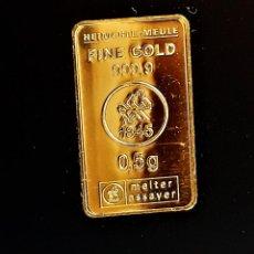 Material numismático: LINGOTE ORO 24.KT. MACIZO Y PURO 999.9 CERTIFICADO EN BLISTER 0,5.GR. Lote 273446863