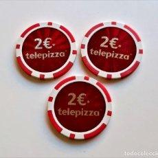 Material numismático: 3 FICHAS TIPO CASINO DE 2 € TELEPIZZA - 39.MM DIAMETRO. Lote 249407725
