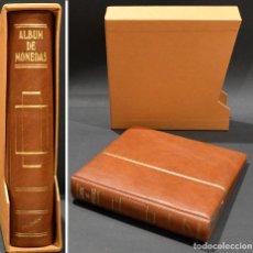 Material numismático: ALBUM PARA MONEDAS FILOBER 4 ANILAS SIMIL PIEL MARRON 22X21CM 6 HOJAS Y SEPARADORES. Lote 251490805