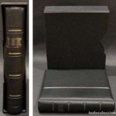 Material numismático: ALBUM PARA MONEDAS PARDO 4 ANILLAS 6 HOJAS Y SEPARADORES 21CMX24CMX5CM. Lote 252437935