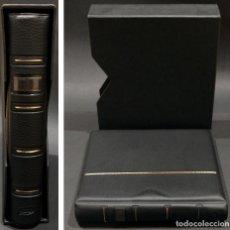 Material numismático: ALBUM PARA MONEDAS PARDO 4 ANILLAS Y 10 HOJAS SIMIL PIEL NEGRO 21CMX24CMX5CM. Lote 252450830
