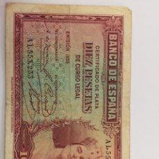 Material numismático: BILLETE DE 10 PESETAS DE 1935 CIRCULADO. Lote 262498525