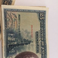 Material numismático: BILLETE DE 25 PESETAS DE 1928 CIRCULADO. Lote 262501630