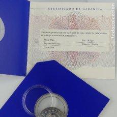 Material numismático: CODORNIU 1872 - 1999. MONEDA DE PLATA 10,9 GRS DIAMETRO 30 MM. CON CERTIFICADO Y ESTUCHE. Lote 264747314