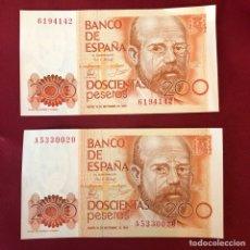 Material numismático: 2 BILLETES SIN CIRCULAR DE 2000 PESETAS DE SEPTIEMBRE 80. Lote 268950644