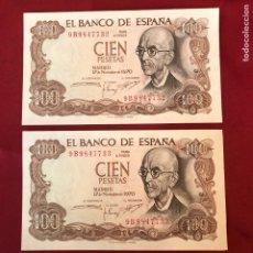 Material numismático: 2 BILLETES SIN CIRCULAR DE 1970 DE 100 PESETAS. Lote 268951374