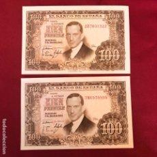 Material numismático: 2 BILLETES SIN CIRCULAR DE 1953 DE 100 PESETAS. Lote 268951814