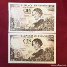 Material numismático: 2 BILLETES SIN CIRCULAR DE AÑO DE 1965 DE 100 PESETAS. Lote 268953329