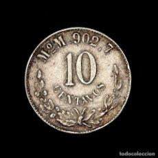 Material numismático: MEXICO 10 CENTAVOS 1904 MOM PLATA - REPUBLICA MEXICANA. Lote 269377958