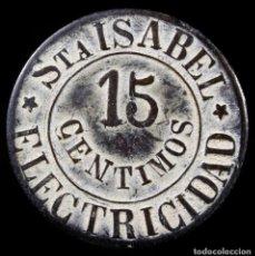 Material numismático: FICHA 15 CENTIMOS, ELECTRICIDAD - 21 MM / 3.22GR.. Lote 269478133