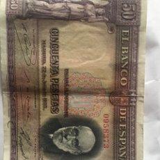 Material numismático: BILLETE DE 50 PESETAS DE 1935 CIRCULADO EN BUEN ESTADO. Lote 269502863