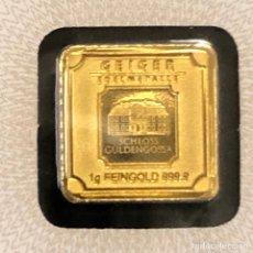 Material numismático: LINGOTE DE ORO PURO GEIGER 1 GR 24 KT. Lote 271071898