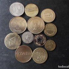Material numismático: CONJUNTO DE 12 FICHAS JETONS TOKENS MUNDIALES DIVERSOS PAISES Y LUGARES EMBLEMATICOS. Lote 272972938