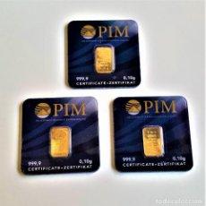 Material numismático: TRES LINGOTES ORO PURO PIM 999.9 CERTIFICADOS EN BLISTER (0,10.GR X 3 = 0,30 GRAMOS). Lote 275227173
