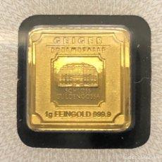 Material numismático: LINGOTE DE ORO PURO 24 KT - 1 GRAMO- GEIGER CERTIFICADO. Lote 276020603