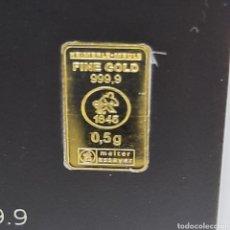 Material numismático: LINGOTE DE ORO DE 24 KL DE 999.9 DE PUREZA 0.5 GRAMOS. Lote 276609373