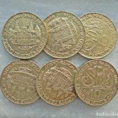Material numismático: LOTE DE SEIS MONEDA-FICHA CASINO DE MONTECARLO. Lote 277234938