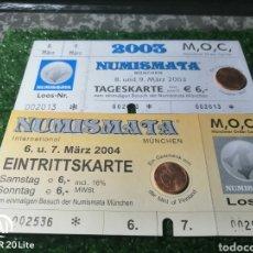 Material numismático: ENTRADAS NUMISMATA 2003 Y 2004. Lote 277241143