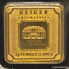 Material numismático: LINGOTE DE ORO PURO 1,00GRAMO GEIGER 24 KT. Lote 277828618