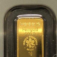 Material numismático: LINGOTE DE ORO PURO 1 GRAMO ARGOR HERAEUS 24 KT KINEBAR. Lote 277830073