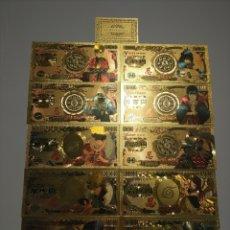 Material numismático: COLECCIÓN LIMITADA 10 BILLETES NARUTO ORO 99,9 % 24K CERTIFICADO. Lote 283115313