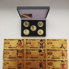 Material numismático: 10 BILLETES + 5 MONEDAS DRAGON BALL (BOLA DE DRAGÓN) ORO 99,9 % 24K CERTIFICADO. Lote 283116103