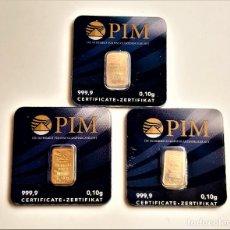 Material numismático: TRES LINGOTES ORO PURO PIM 999.9 CERTIFICADOS EN BLISTER (0,10.GR X 3 = 0,30 GRAMOS). Lote 285319173