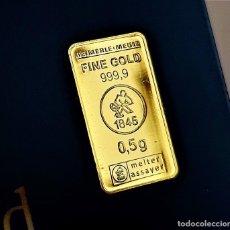 Material numismático: LINGOTE ORO 24.KT. MACIZO Y PURO 999.9 CERTIFICADO EN BLISTER 0,5.GR. Lote 285320043