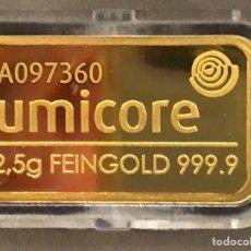 Material numismático: LINGOTE DE ORO PURO 2,50 GRAMOS 24 QUILATES - UMICORE. Lote 287557418
