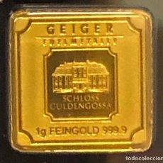 Material numismático: LINGOTE DE ORO PURO 1,00 GRAMO 24 QUILATES - GEIGER ORIGINAL. Lote 287558178