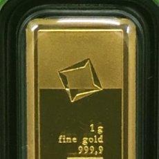 Material numismático: LINGOTE DE ORO PURO 1,00 GRAMO GREEN GOLD VALCAMBI. Lote 287779158