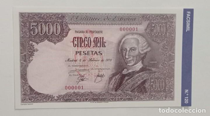 BILLETE DE 5000 PTAS. BANCO DE ESPAÑA FACSIMIL/COPIA - COLECCION EDICIONES GRUPOJOLY 2001 (Numismática - Material Numismático)