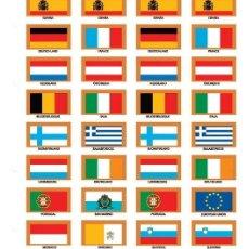 Material numismático: PARDO CARTULINA IMPRESA COLOR CON 32 BANDERAS SURTIDAS PAÍSES DE LA COMUNIDAD EUROPEA MOD. 181700. Lote 289392168