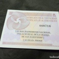 Material numismático: CERTIFICADO FNMT 5 EUROS PATRIMONIO NACIONAL PALACIO REAL GRANJA DE SAN ILDEFONSO. Lote 296593763