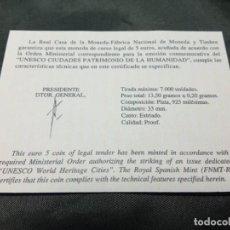 Material numismático: CERTIFICADO FNMT 5 EUROS UNESCO CIUDADES PATRIMONIO HUMANIDAD ÁVILA. Lote 296594393