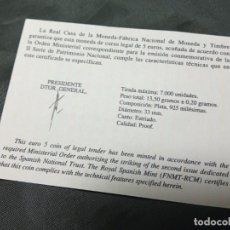 Material numismático: CERTIFICADO FNMT 5 EUROS PATRIMONIO NACIONAL REAL SITIO ARANJUEZ. Lote 296594718