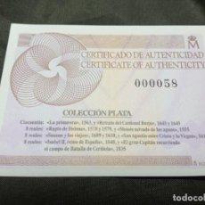 Material numismático: CERTIFICADO FNMT COLECCION PLATA VER FOTOS. Lote 296614853