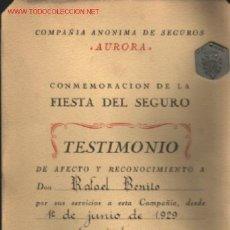 Medallas condecorativas: SEGUROS AURORA 1954 .. MEDALLA Y DIPLOMA .. OTORGADA POR SUS 25 AÑOS AL SERVICIO DE LA COMPAÑÍA. Lote 27402470