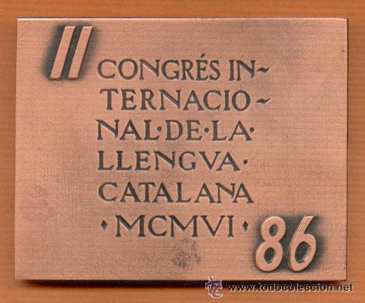 LINGOTE - PLACA CONMEMORATIVA 385 GRS. DE BRONCE ANDORRA EN ESTUCHE NUEVO 1986 OBRA DE SUBIRACHS (Numismática - Medallería - Condecoraciones)