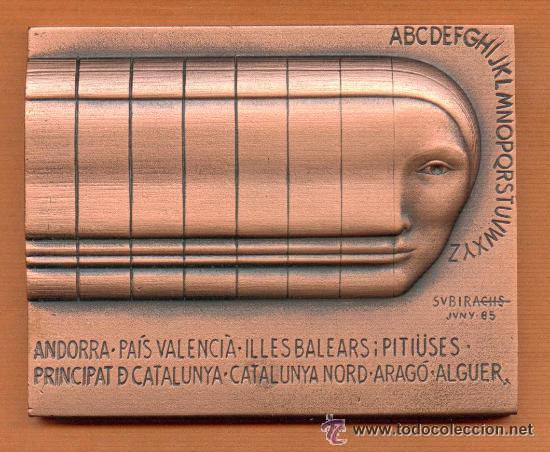 Medallas condecorativas: LINGOTE - PLACA CONMEMORATIVA 385 GRS. DE BRONCE ANDORRA EN ESTUCHE NUEVO 1986 OBRA DE SUBIRACHS - Foto 2 - 137937264