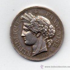 Medallas condecorativas: FRANCIA. MEDALLA ANTIGUA DE PLATA. FIRMADA POR OUDINE.. Lote 40906879